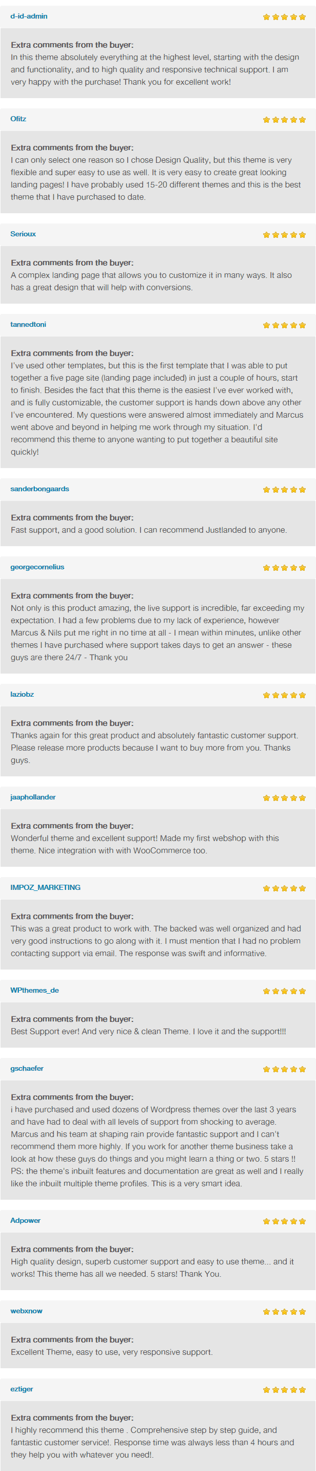 JustLanded for WordPress Customer Reviews Part 2