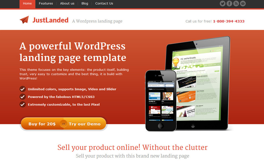 JustLanded WordPress Landing Page Theme